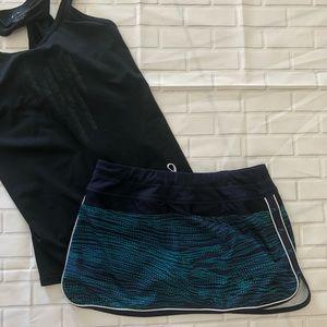 Athleta Green & navy print skirt skort size 6
